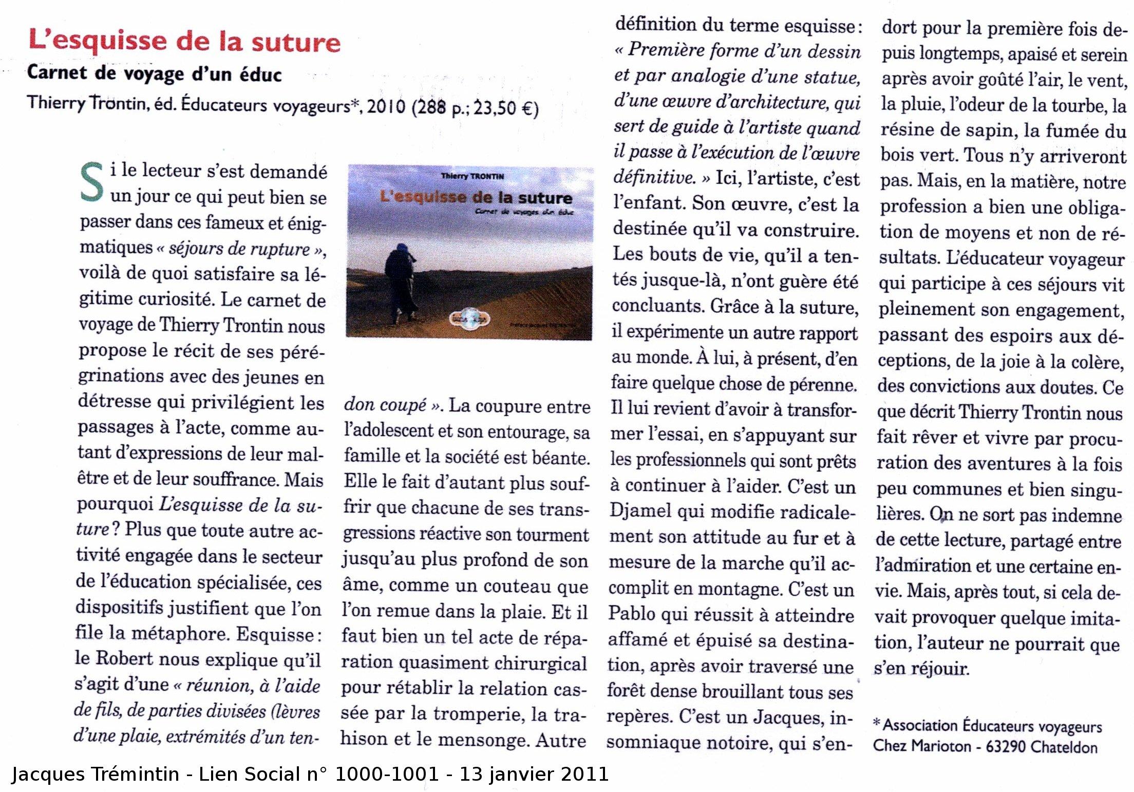 Educateurs voyageurs l 39 esquisse de la suture for Chambre sociale 13 janvier 2010